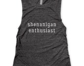 Shenanigan Enthusiast Muscle Tee in Charcoal/White Workout Top, Muscle Tank