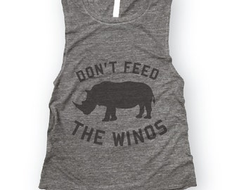 SALE XXL Don't Feed the Winos Muscle Tee in Asphalt Slub/Black ,Workout Top, Muscle Tank