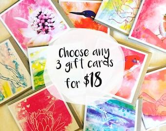 Greeting Card Australian Birds/Plants - Pack of 3