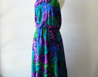 Vintage floral maxi dress + 90s halter long dress