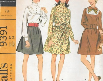 Vintage 1960s McCall's Sewing Pattern 9391 - Misses' Front Yoked Dress size 12 bust 34 uncut