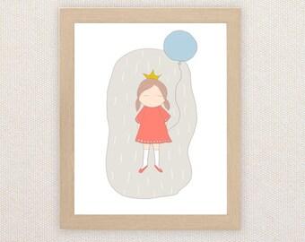 Ella - Children's art. Hand drawn girl holding balloon. A4 Print
