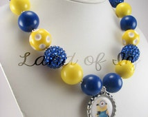 Blue and Yellow Kevin One Eyed Minion Bottle Cap Bubblegum Chunky Necklace
