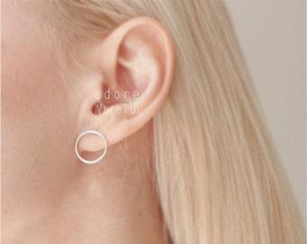 Minimalist Circle Ring Silver Earrings