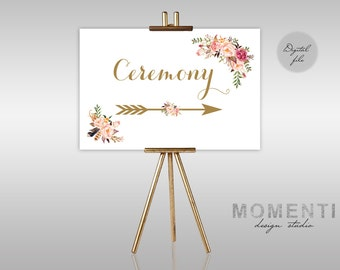 Printable Wedding Ceremony sign, Directional sign gold floral printable, Reception sign printable, Boho arrow sign, The Mia Collection