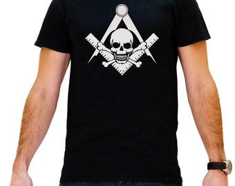 Masonic Black Skull and Crossbones Men's Black Masonic T-Shirt