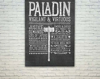 World of Warcraft / Roleplaying Medieval / Fantasy Inspired Type Poster - PALADIN Edition