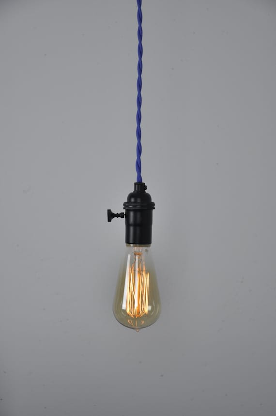 Cord Set Pendant Lighting : Blue cord set matte black socket pendant light hanging