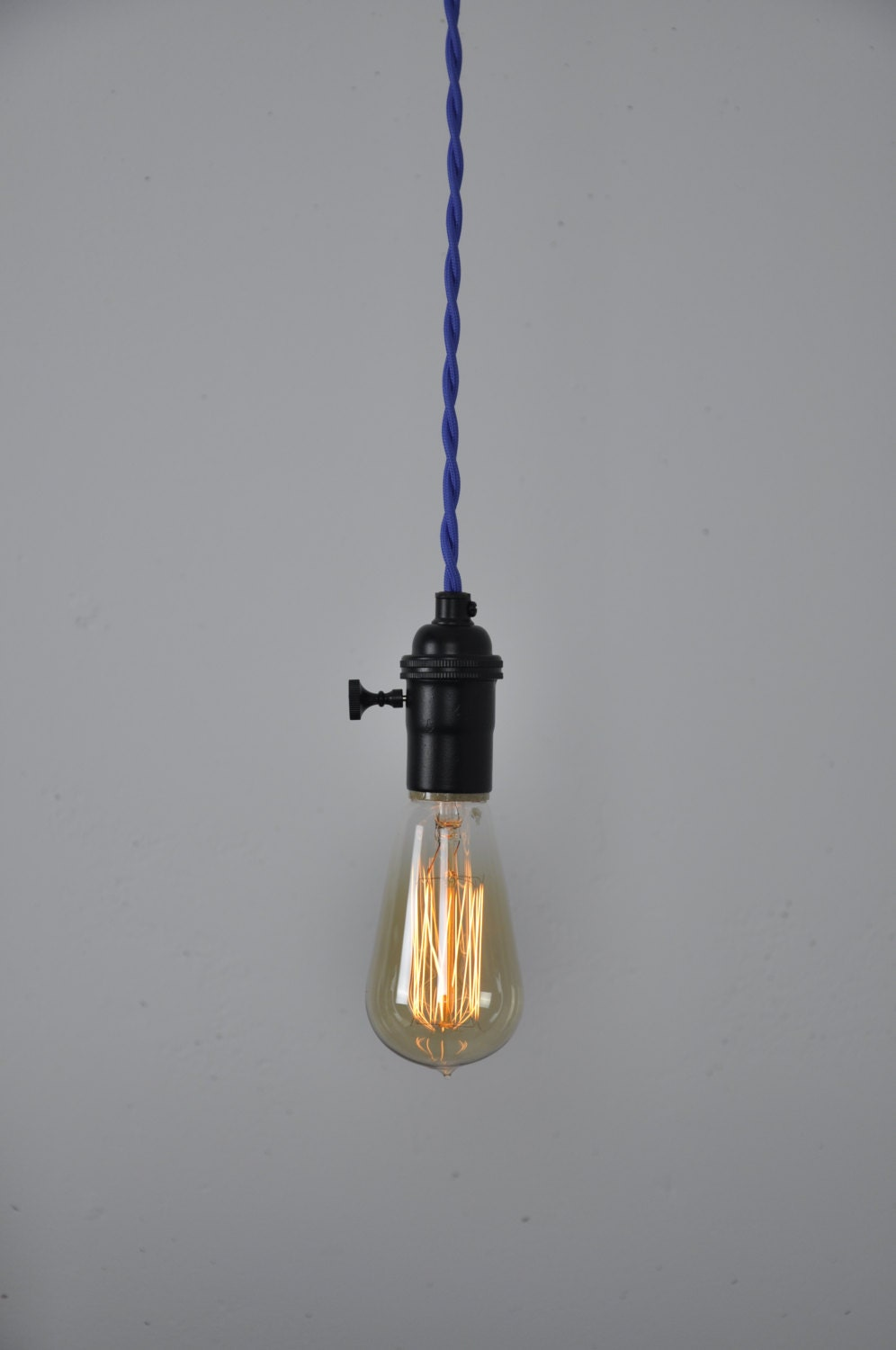 Blue Cord Set Matte Black Socket Pendant Light Hanging