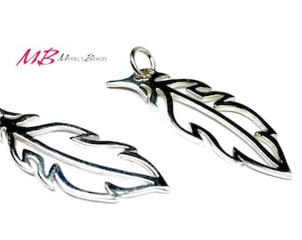 Sterling Silver Feather Charm, Silver Feather Pendant