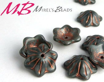 14 Gray Flower Beads, Copper Patina Czech Glass Beads, Bell Flower, 12x11mm Glass
