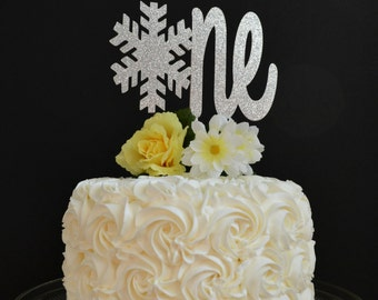 Snowflake one Cake Topper - Winter Onederland Glitter Cake Topper - Winter Wonderland First Birthday Party - 1st Birthday Smash Cake Topper
