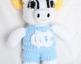 Crochet UNC Tar Heels Stuffed Ram - Ramsey Ram Inspired Tar Heel Crochet Doll - UNC Chapel Hill - College Mascot Doll