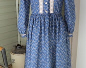 girl's pioneer prairie calico old fashioned 1800's American history costume dress--Caddy--MADE TO ORDER