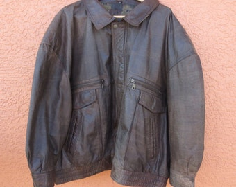 Vintage 5XL 5XB Brown Leather Bomber Jacket Big and Tall