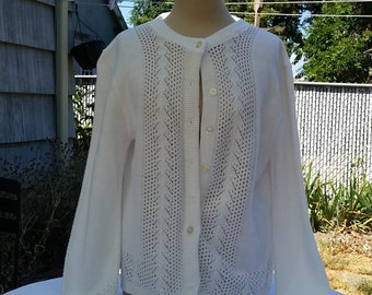 """Vintage Snow White Cardigan/Sweater  """"Styled By Rose"""" Made in the USA"""
