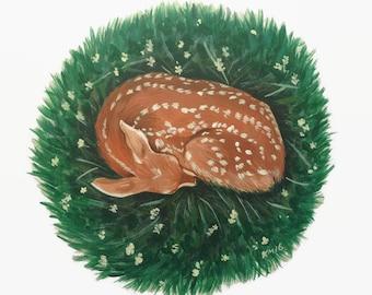 Fawn Print, Nursery Decor, Baby Deer, Gallery Wall, Deer Print, Fawn Painting, Cute Print, Baby Animal, Deer Painting, Nursery Decor