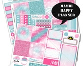 Pink and Blue Glitter Bokeh Planner Sticker Kit 200+ Happy Planner Stickers, Mambi Planner Sticker kit, Weekly Planner Kit  #SQ00259-MHP
