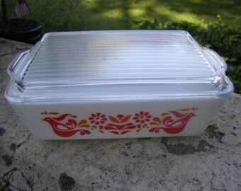 Vintage Pyrex Friendship Refrigerator Dish 503 With Lid