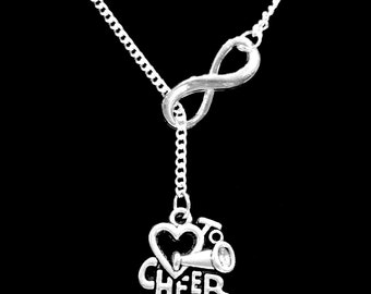 Cheer Gift Necklace, I Love Cheer Cheerleader Cheerleading Mom Mother Forever Y Infinity Lariat Necklace
