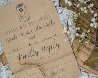 RUSTIC|Wedding Invitation Set #24