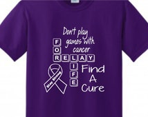 2016 Relay For Life Scrabble Shirt - Supporting All Cancer T Shirt - Find A Cure