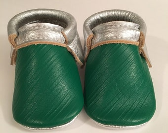 Striped Leather Moccasins