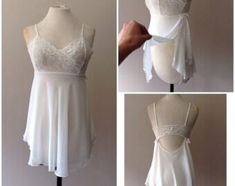 S / Vintage Victoria's Secret Chiffon Babydoll Nightie / Bridal Bride Lingerie  / White / Sheer / Small
