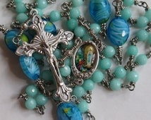 Our Lady of Lourdes Unbreakable Rosary, Five Decade Catholic Rosary, Hand Made,Blue Brazilian Aquamarine Gemstone Beads, Wire Wrapped