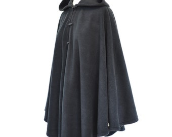 Womens' Black Handmade Hooded Cape, Black Hooded Cloak, Plus Size Cape Coat, Hooded Poncho, Black Medieval Cloak