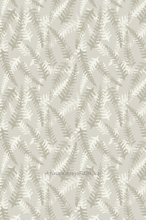 Wood a130 1 floral fabric fern quilt fabric cotton taupe fabric