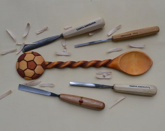 hand carved spoon Fooltball soccer  linden wooden hand made