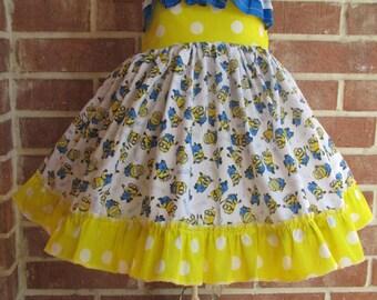 Boutique custom handmade Minion inspired twirl dress, Minions, Minion outfit, Minion dress, Minion twirl