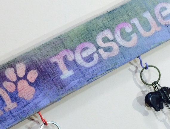 rescued dog leash holder/ collar hanger wall hanging cat storage reclaimed wood sign /dog art rescue/ adopted pet decor 5 colorful hooks