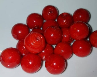 Large Glass Czech Red Beads 25pcs