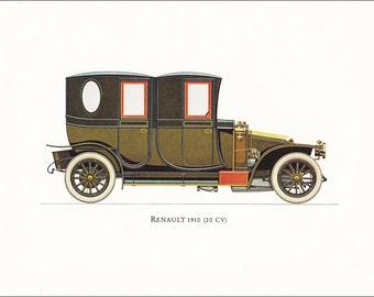 Renault 20 CV 1910 French veteran car motoring vintage print illustration home office décor boy's nursery 9.5 x 7 inches