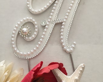 "Monogram Wedding Cake Topper Pearl Cake Topper With Pearls Swarovski Crystals Destination Wedding Initials A to Z ""Paris Design"" Letter H"