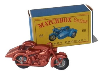 1960s Matchbox 66 Harley Davidson Motorcycle & Sidecar in Box