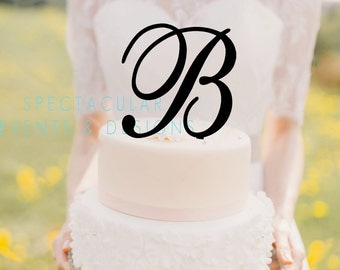 Ships Fast-Monogram Initial Letter Cake Topper-Wedding Birthday -5 Inches Tall (View Item Details Tab and Photos for More Info)