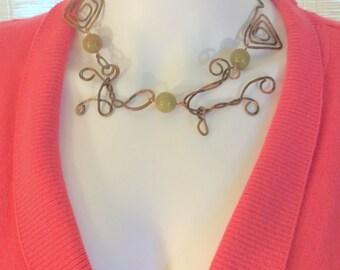 Copper Link Hammered Necklace.  Copal Amber, Black Horn. or Green Opal. Ethnic, Free US Ship 129.00 ea
