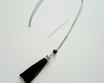Black Tassel Necklace, Black Statement Necklace, Long Boho Necklace, Silver, Oil Diffuser, Layering, Gypsy, Bohemian, gifts for her