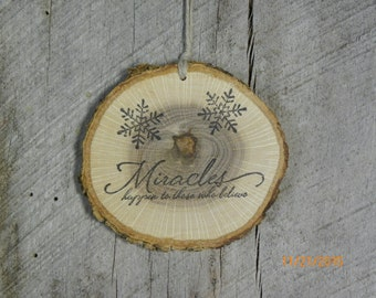Wood slice ornament, Miracles Ornament, home decor, Christmas ornament, wood slice, Scripture ornament, tree ornament, Christian ornament