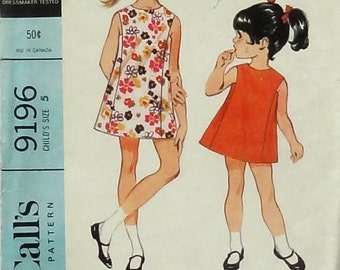 Vintage 1968 McCall's Child's Dress Sewing Pattern #9196 - Size 5 - Sleeveless Summer A-line Dress