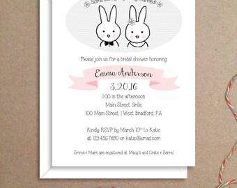 Bridal Shower Invitations - Bunny Invitations - Bunny Bride and Groom Invitations - Illustrated Party Invitations - Custom Invitations