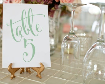 Printable Sage Green Wedding Table Numbers ⋆ 1-50 DIY Wedding Table Number Cards ⋆ 5x7 Table Numbers Wedding ⋆ Printable PDF ⋆ #KKD105