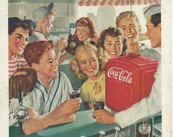 Coca cola 1940's 2 magazine advertisments download