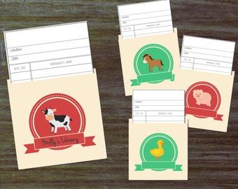DIY Library Pocket Cards for Bring-a-Book Baby Shower { Farm Animals Cow Duck Horse Pig Farmer Dell Old McDonald Barn Printables Digital }