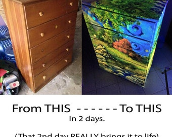 Painted furniture, or ANYTHING- - - 1 day of art for this price (picture her shows EXTREME detail from a 2 day job on 4 sides...)