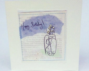 Handmade Collage Illustration Print Birthday Golf Greeting Card