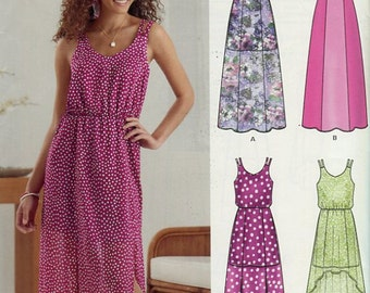 Misses Summer Dress Pattern New Look 6282 Thick or Thin Straps Two Lengths Hem Variations Size 4 to 16 UNCUT
